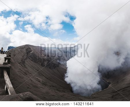 Bromo volcano, view from crater in Indonesia
