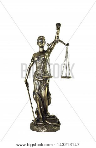 Lady Justice or Themis statue isolated on white background