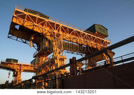 Dubna Russia - Jul 21 2014: Overhead cranes at the Ivankovo water power plant.