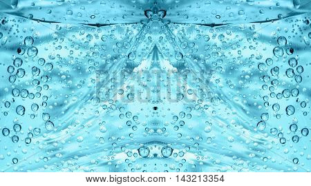 closeup of blue bubble underwater aqua sea background