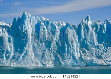 Day view from the water at the Perito Moreno glacier in Patagonia Argentina.