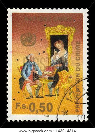 United Nations, Geneva - CIRCA 1990: a stamp printed in Geneva shows people in costumes of the 18th century, dedicated to the crime fighting congress, circa 1990