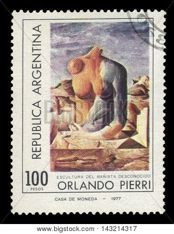 ARGENTINA - CIRCA 1977: a stamp printed in the Argentina shows female torso, painting by Orlando Pierri, argentinean artist, circa 1977