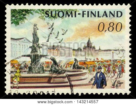 FINLAND - CIRCA 1976: a stamp printed in Finland shows Market Square and Havis Amanda Fountain by Ville Vallgren in Helsinki, Finland, circa 1976