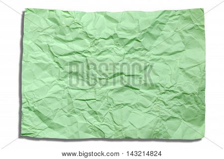 Closeup the green crumpled paper with shadow isolated on white background.