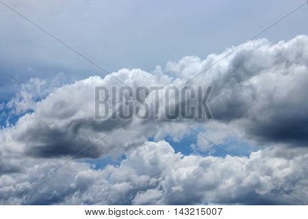 blue sky with big cloud. blue sky and motion raincloud on clouds white and space for add text above image clouds look Imagination idea