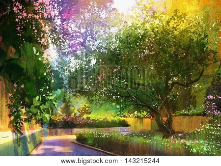 pathway in a peaceful green park, illustration, landscape painting