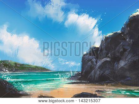 beautiful beach summer natural outdoor, illustration, digital painting