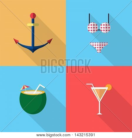 Holiday and Recreations | Set of great flat icons with style long shadow icon and use for holiday, recreation, day off, event and much more.