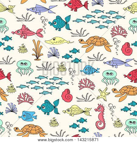 Vector seamless pattern with hand drawn colored fish. Pattern on the theme of underwater world. Background for use in design, packing, web site, fabrics