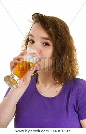 Young Girl Is Drinking Beer
