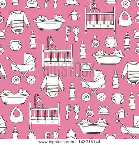 Vector seamless pattern with hand drawn symbols of baby girl on pink color. Pattern on the theme of newborn babies. Background for use in design, packing, web site, fabrics