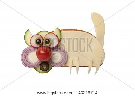 Funny cat made of bread and cheese on isolated background