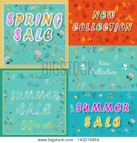 Vintage cards with floral frames. Spring sale. Summer sale. New collection. Inscriptions for banners. Artistic font. Watercolor flowers. Vector Illustration