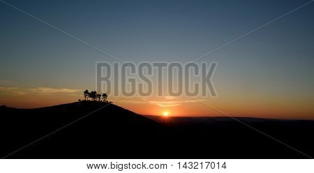 Sunrise over Colmer's Hill in Devon England