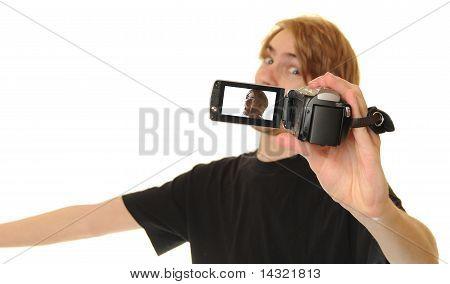 Man Video Recording Himself Talking