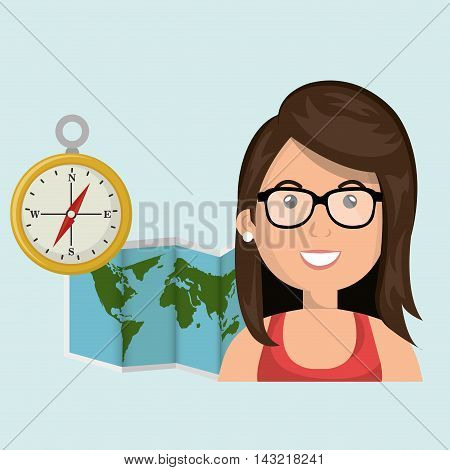 woman map world global travel vector illustration eps 10