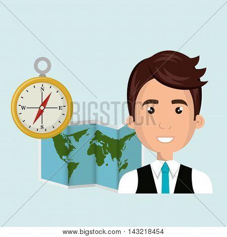 man map world global travel vector illustration eps 10