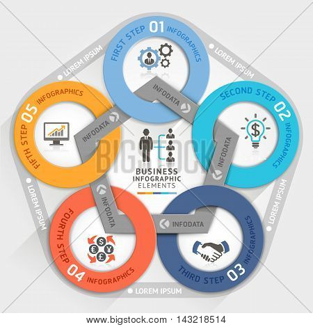 Business management circle origami style options banner. Vector illustration. can be used for workflow layout diagram number options step up options web design infographics.