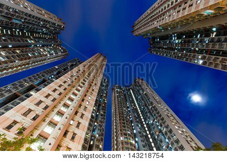 Apartment building from low angle at night
