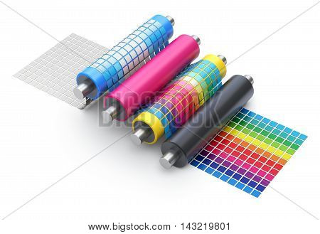 CMYK printing explanation concept with set of printer rollers and color chart - 3D illustration