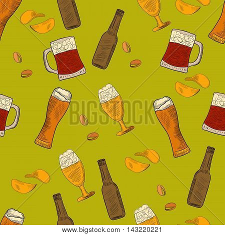 Beer hand-drawn doodle seamless pattern.Colorful Vector illustrations of beer and snacks.Pattern for restaurants menus logos web and print.