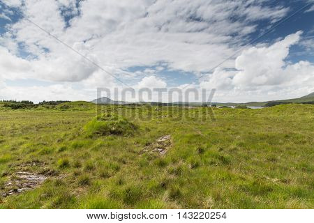 nature and landscape concept - view to plain with lake or river at connemara in ireland