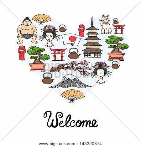 Stylized heart with hand drawn colored symbols of Japan. Illustration on the theme of travel and tourism. Vector for use in design