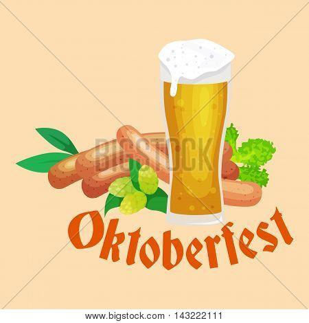 germany beer festival oktoberfest, bavarian beer in glass mug, traditional party celebration, vector illustration.