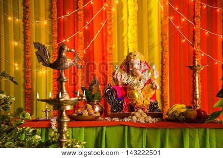 A clay statue of an Indian god Lord Ganesha in ganesh festival