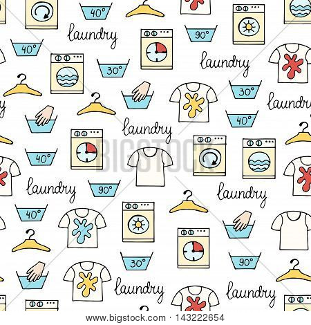 Vector seamless hand drawn pattern with hand drawn colored symbols of laundry. Pattern on the theme of cleanliness and tidiness. Background for use in design, packing, web site, fabric