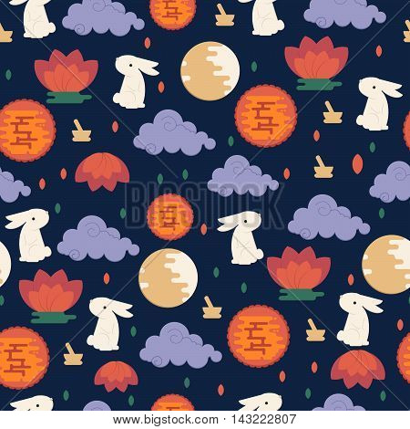 Chinese mid autumn festival seamless pattern. Vector lunar festival concept with rabbit mortar and pestle moon cake and lotus flower.