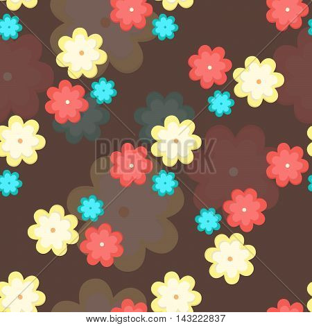 Colorful flowers seamless pattern.Vector floral background design for web print textile fabric and wrapping.