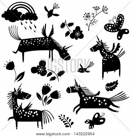 Vector illustration with unicorn silhouettes and flowers