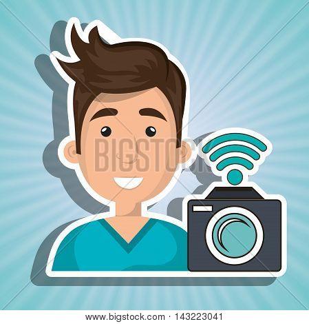 man camera photography wifi vector illustration eps 10