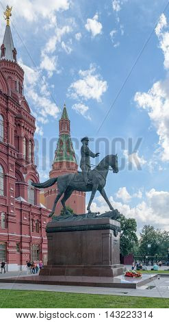 Moscow, Russia - July 07, 2016: Monument of Marshal Zhukov near the building of the Historical Museum on Red Square