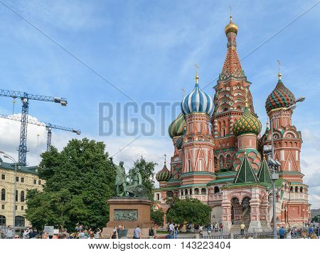 Moscow, Russia - July 07, 2016: Monument to Minin and Pozharsky near the Christ the Savior Cathedral on the Red Square
