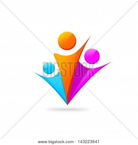 Three happy people logo template isolated on white, concept of motivated people union symbol with hands together, family support unity sign, group of persons community, abstract fiends, vector design