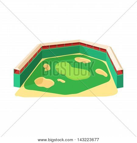 Golf course icon in cartoon style isolated on white background. Sport symbol