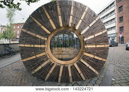 AARHUS DENMARK - AUGUST 14 2016: Modern alternative architecture in Aarhus City - Pile braided house that makes advertisement for gourmet cuisine in Aarhus August 14 2016