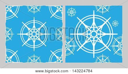 colorful vector seamless patterns in sailing style with sail wheel. Elements for your design. Eps10