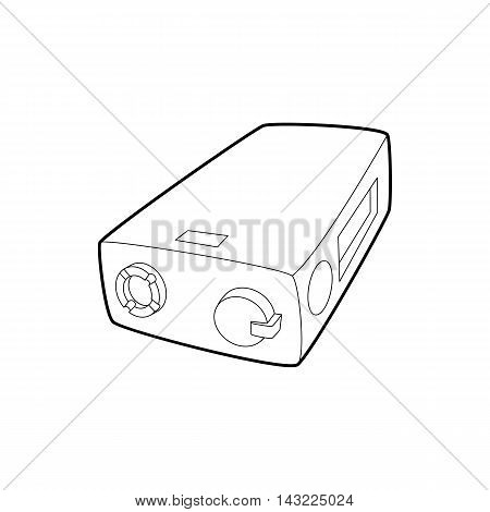 Electronic cigarette charger icon in outline style isolated on white background