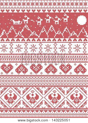 Scandinavian Printed Textile  style and inspired by  Norwegian Christmas and festive winter seamless pattern in cross stitch with Xmas trees, snowflakes, Reindeer, Santa's Sleigh, hearts,  angels