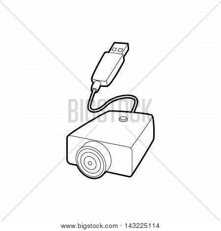 Electronic cigarette USB cable charge icon in outline style isolated on white background
