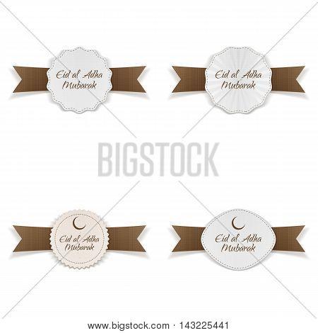 Eid al-Adha Mubarak Tags Collection. Vector Illustration