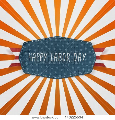 Happy Labor Day festive Badge. Vector Illustration