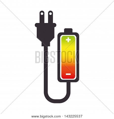 battery plug charge power electric energy bar vector illustration