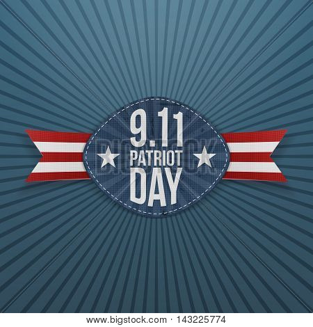 Patriot Day 9-11 Badge with Ribbon. Vector Illustration