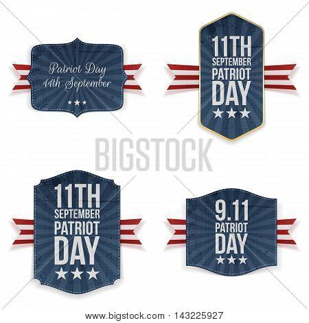 Patriot Day national Labels Set. Vector Illustration