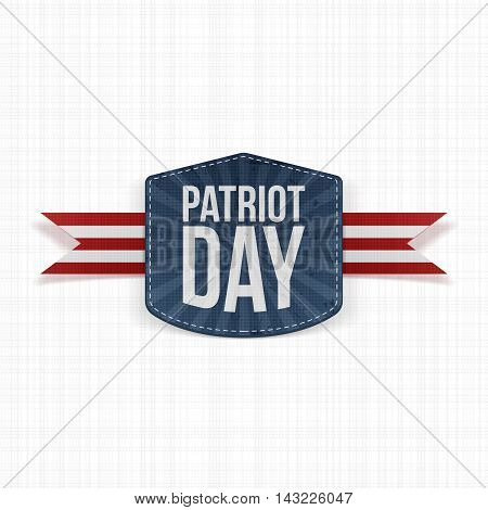 Patriot Day realistic Label with Ribbon. Vector Illustration